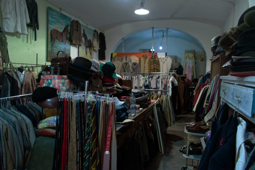Interior of a vintage clothing store